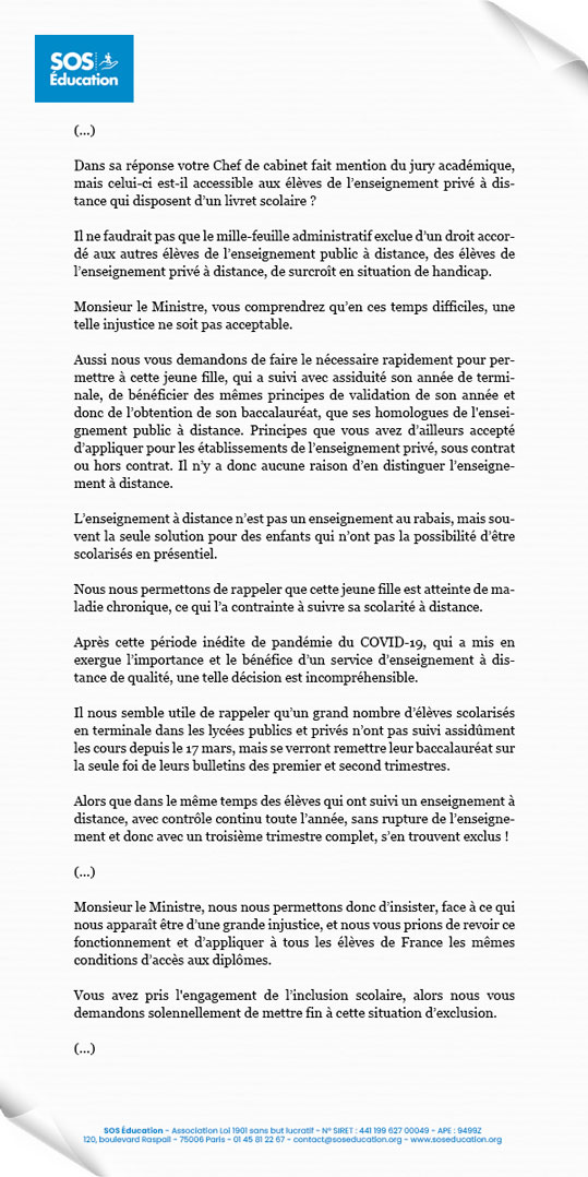 Extrait de la lettre du 11 juin 2020 au ministre de l'Éducation nationale